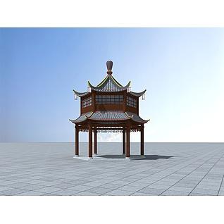 双层六角亭3d模型