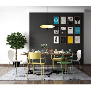 青春时尚餐桌椅照片墙组合3d模型3d模型