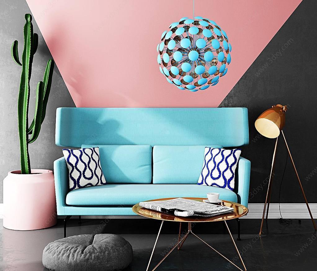 蓝色休闲沙发茶几组合