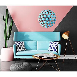 蓝色休闲沙发茶几组合3d模型3d模型