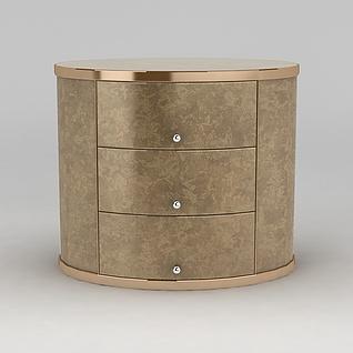 高档金色床头柜3d模型3d模型