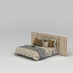 现代双人床3D模型3d模型