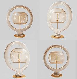 现代创意玻璃台灯模型