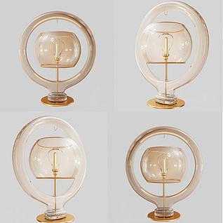 现代创意玻璃台灯3d模型