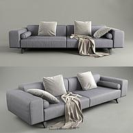 低调灰色双人沙发3D模型3d模型