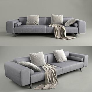 低调灰色双人沙发3d模型