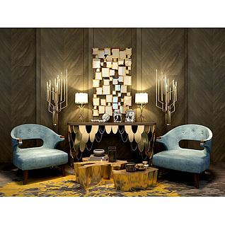奢华时尚边柜休闲椅镜子墙饰组合3d模型