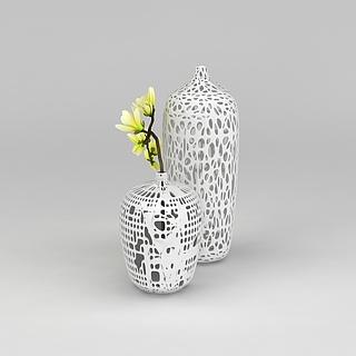 白色镂空大花瓶3d模型