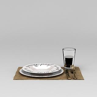 玻璃杯刀叉餐具3d模型