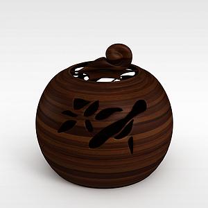 實木雕花罐子模型3d模型