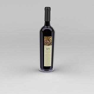 红酒3d模型