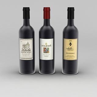 红葡萄酒3d模型