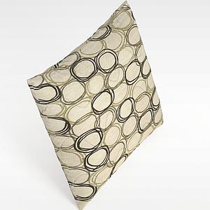 3d純棉布藝花紋抱枕模型