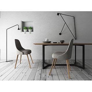 现代简约中式餐厅桌椅组合3d模型