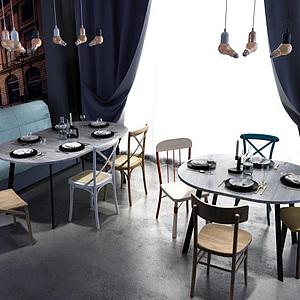 3d休閑餐桌椅<font class='myIsRed'>卡座</font>沙發組合模型