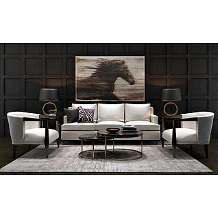 客厅白色沙发茶几组合3d模型
