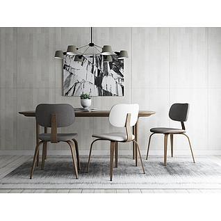 现代时尚简约餐桌椅组合3d模型