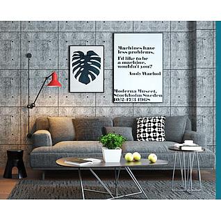 loft现代沙发茶几组合3d模型
