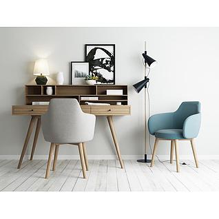 北欧书桌椅落地灯组合3d模型