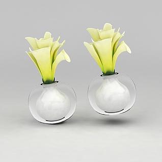 迷你玻璃瓶花卉3d模型3d模型