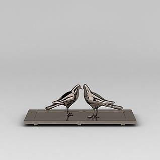 金属小鸟摆件3d模型3d模型