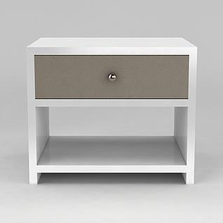 白色实木床头柜3d模型3d模型