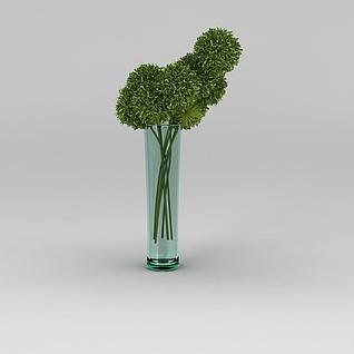 玻璃瓶装饰花卉3d模型3d模型