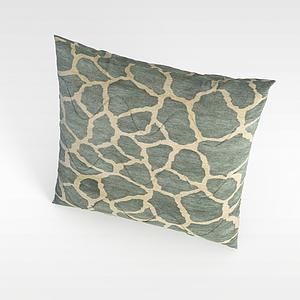 3d布藝花紋抱枕模型