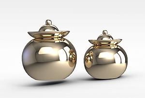 金屬色罐子模型3d模型