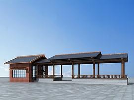 3d古建连廊模型