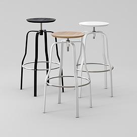 现代创意螺丝高脚凳模型