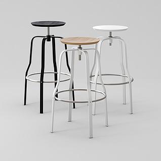 现代创意螺丝高脚凳3d模型