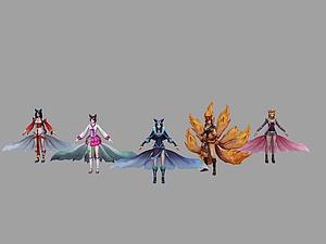 lol游戲角色九尾妖狐模型3d模型