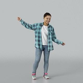 穿格子衬衣女人3d模型