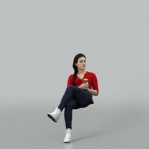 坐着的女人模型3d模型
