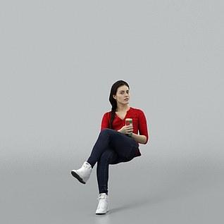 坐着的女人3d模型