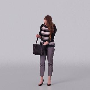 拎包女人3d模型