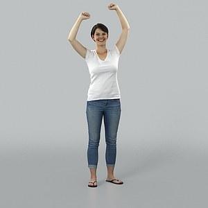 白色短袖女人模型3d模型