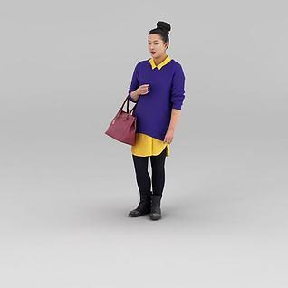 逛街女人3d模型