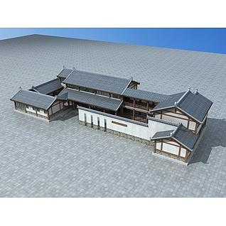 中式会所建筑3d模型