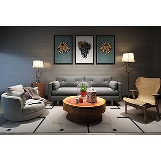 圆形沙发茶几休闲椅组合3d模型