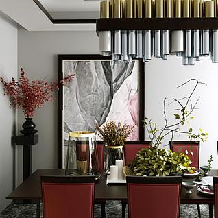 高档餐桌椅钢管吊灯组合3d模型