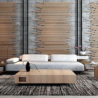 北欧原木沙发茶几背景墙组合3d模型