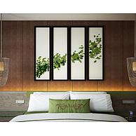 中式四联挂画床具组合3D模型3d模型