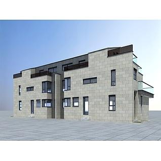 三层民居3d模型