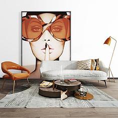 现代客厅休闲沙发椅人物挂画组合3D模型3d模型