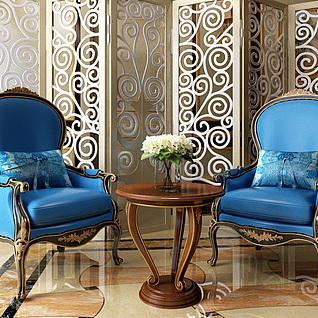 欧式蓝色高背椅实木小桌子组合3d模型