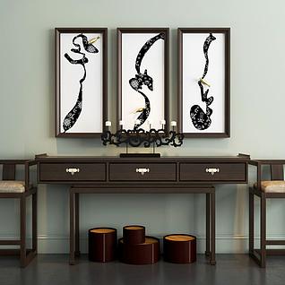 新中式简约桌椅挂画组合3d模型
