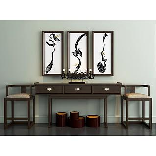 新中式简约桌椅挂画组合3d模型3d模型
