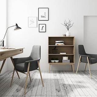 现代书桌椅实木柜子组合3d模型